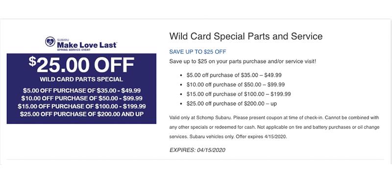 Parts & Accessories Specials | Schomp Subaru